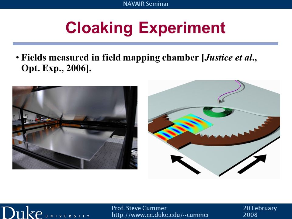 Cloaking Experiment Fields measured in field mapping chamber [Justice et al., Opt. Exp., 2006]. Prof. Steve Cummer.